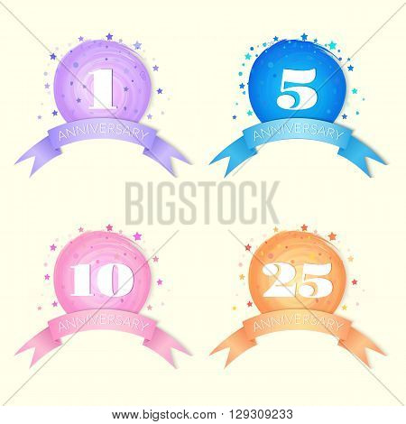 Anniversary Celebration Vector  Designs isolated on white background
