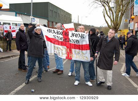 EDL (English Defence League) protestors in Luton, UK