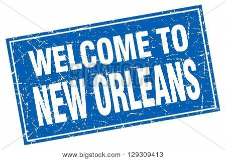 New Orleans blue square grunge welcome to stamp