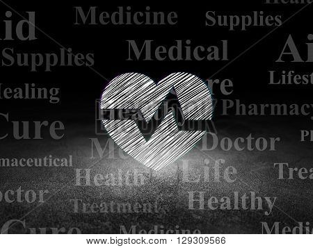 Healthcare concept: Glowing Heart icon in grunge dark room with Dirty Floor, black background with  Tag Cloud