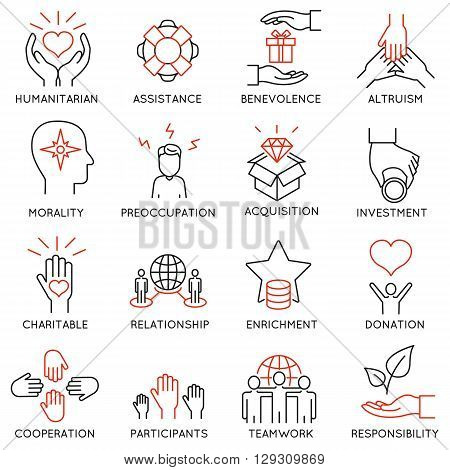 Vector set of 16 thin icons related to altruism benevolence human responsible and beneficence. Altruism Benevolence Icons. Mono line pictograms and infographics design elements - part 1