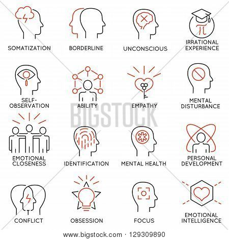 Vector set of 16 modern thin line icons related to mental features of human brain process mental disorders. Simple Mono line pictograms and infographics design elements and symbols - part 1