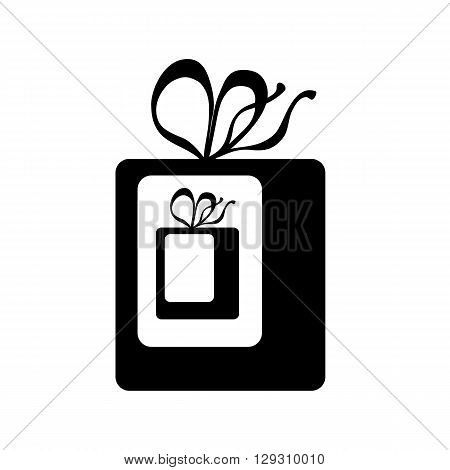 Gift inside gift  vector icon, wrapped present with ribbons flat vector illustration, present in box icon, unwrapping a present illustration, vector pictogram present in box, surprise present