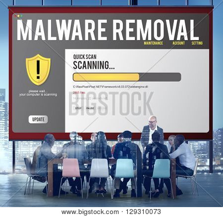 Data File Protection Firewall Malware Removal Concept