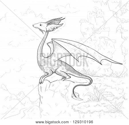 Dragon coloring page. Dragon contour for coloring book. Dragon adult coloring.