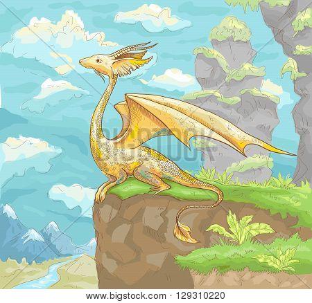 Fantastic dragon. Fantastic landscape with dragon. Fantastic hand drawn illustration of dragon. Fantastic drawing with dragon for wallpaper poster background illustration for children book card.