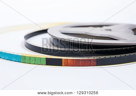 Old Cine Film Strip Isolated On White Background.