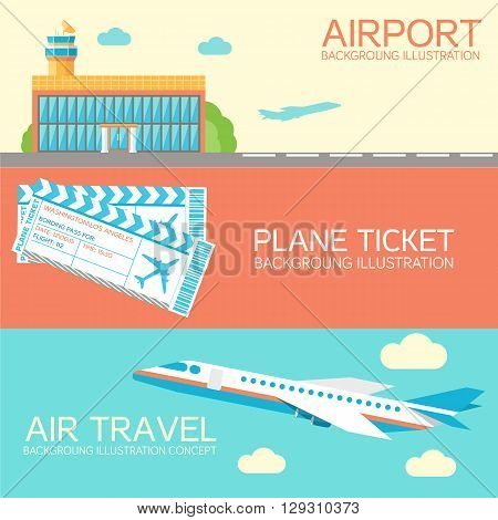 Flat Building Airport With Flying Plane Tour And Ticket Concept Banners Or Card
