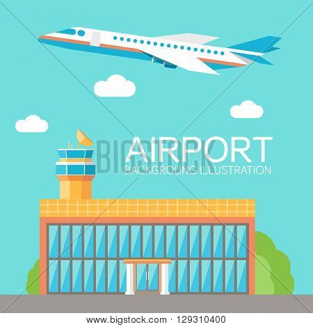 Flat Building Airport With Flying Plane Tour Concept Background