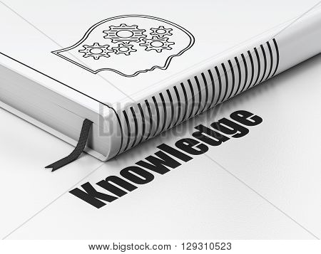 Education concept: closed book with Black Head With Gears icon and text Knowledge on floor, white background, 3D rendering