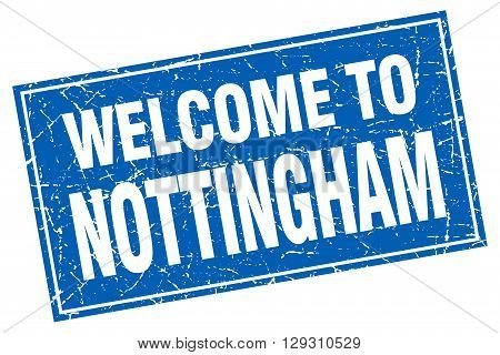 Nottingham blue square grunge welcome to stamp