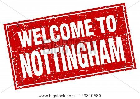 Nottingham red square grunge welcome to stamp