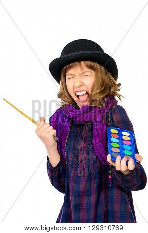 Shouting artist girl with her brush and palette of colors. Hobby, occupation. Isolated over white.
