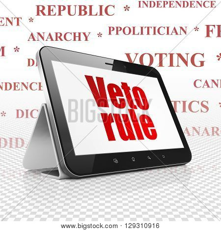Political concept: Tablet Computer with  red text Veto Rule on display,  Tag Cloud background, 3D rendering