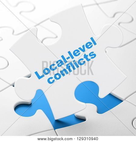 Politics concept: Local-level Conflicts on White puzzle pieces background, 3D rendering