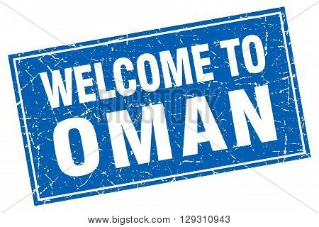 Oman blue square grunge welcome to stamp