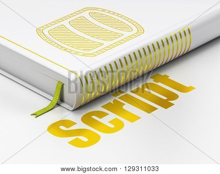 Database concept: closed book with Gold Database icon and text Script on floor, white background, 3D rendering