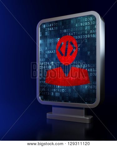 Software concept: Programmer on advertising billboard background, 3D rendering