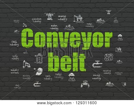 Industry concept: Painted green text Conveyor Belt on Black Brick wall background with  Hand Drawn Industry Icons