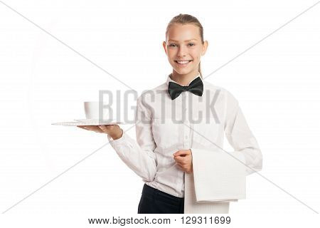 Smiling waitress with cup of coffee on tray and towel
