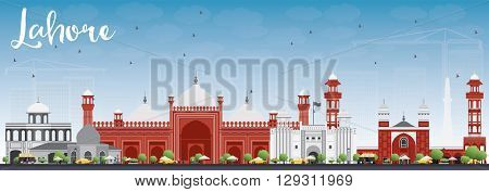 Lahore Skyline with Gray, Red Landmarks and Blue Sky. Business Travel and Tourism Concept with Historic Buildings. Image for Presentation Banner Placard and Web.