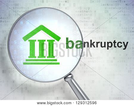 Law concept: magnifying optical glass with Courthouse icon and Bankruptcy word on digital background, 3D rendering