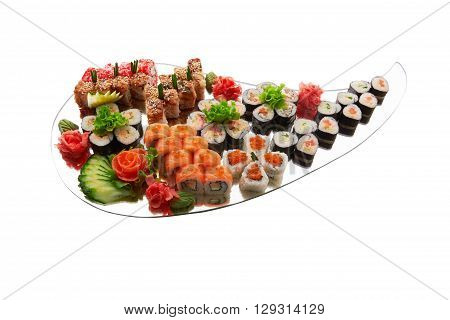 Different types of sushi on mirror isolated on white