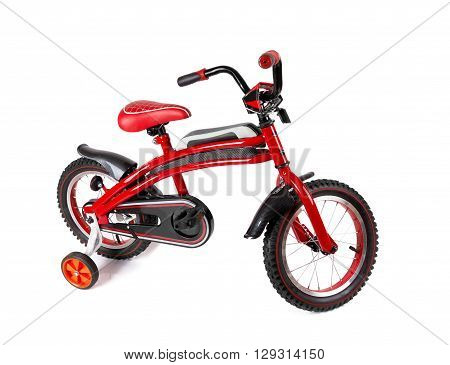 red bicycle for children isolated on white background