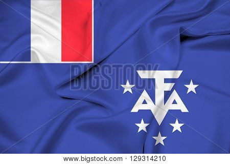 Waving Flag Of The French Southern And Antarctic Lands