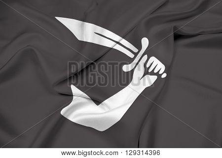 Waving Thomas Tew Pirate Flag, with beautiful satin background