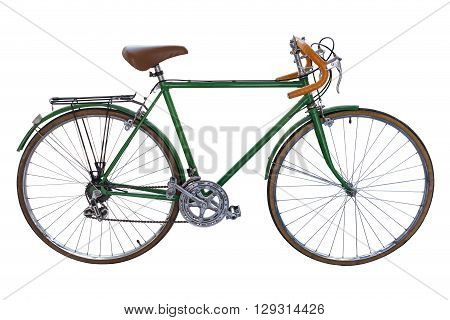 vintage road bicycle isolated on white background with clipping path