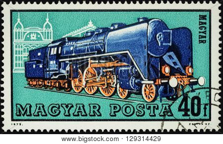 MOSCOW RUSSIA - MAY 09 2016: A stamp printed in Hungary shows old locomotive series