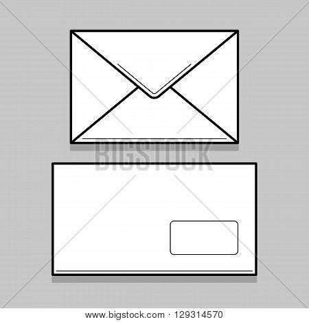 Two white thin line envelopes for identy design. Blank envelopes on gray background