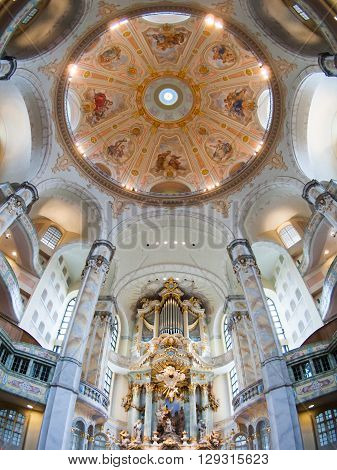 DRESDEN, GERMANY - CIRCA MARCH 2013: beautiful ceiling of the Frauenkirche Cathedral circa in March 2013, Dresden, Germany.