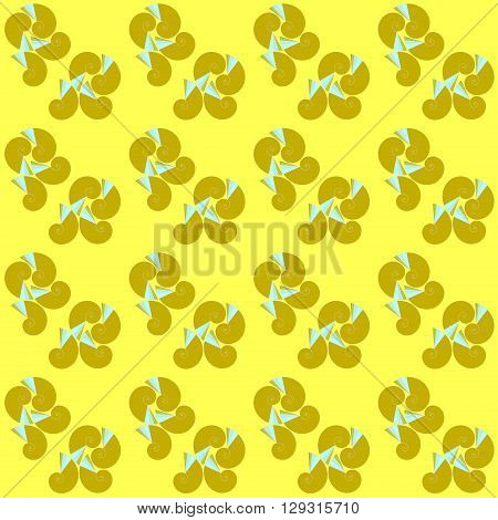 Abstract geometric seamless background. Light brown spiral pattern with light blue elements on yellow.