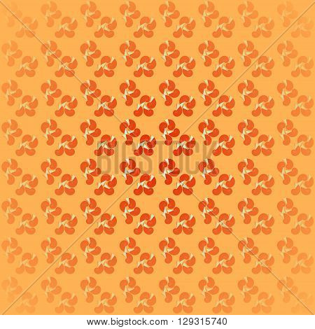 Abstract geometric seamless background. Regular spiral pattern in red and orange shades with mint green, centered and blurred on orange.