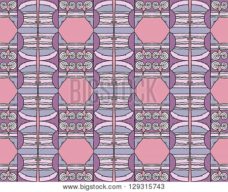 Abstract geometric seamless background, drawing. Regular hexagon and spiral pattern with wiggly lines in pink, violet and purple shades with white elements.