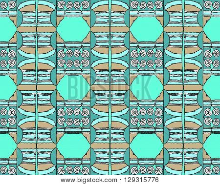 Abstract geometric seamless background, drawing. Regular hexagon and spiral pattern with wiggly lines in turquoise, pale green, mint green, light brown and pink.