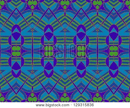 Abstract geometric background, drawing. Regular seamless pattern with spirals bright green and elements in purple, azure and dark blue, with orange outlines.