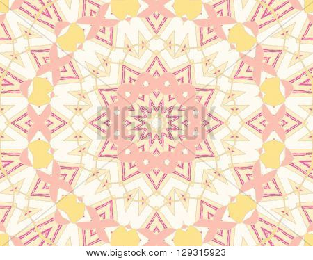 Abstract geometric seamless background. Delicate circle ornament in pink, pale yellow, white and violet shades.