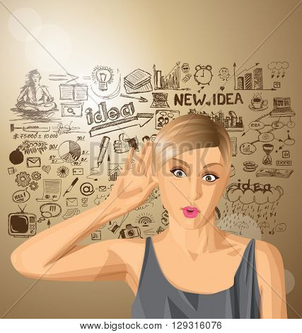 Vector woman overhearing something with her ear and hand, very surprised