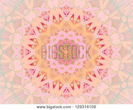 Abstract geometric seamless background. Delicate concentric circle pattern, pastel ornament in star shape, with elements in yellow, orange, pink and magenta.