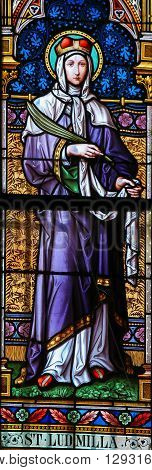 Saint Ludmila - Stained Glass In Prague Cathedral