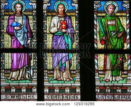 Saint Mathias, Barnabas And Stephen - Stained Glass