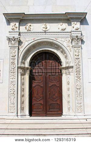 The front door of San Lorenzo in Lugano Switzerland
