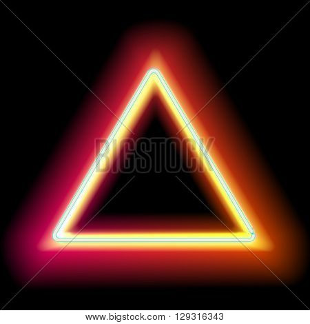 Neon triangle. Neon red light. electric frame. Vintage frame. Retro neon lamp. Space for text. Glowing neon background. Abstract electric background. Neon sign triangle. Glowing electric frame