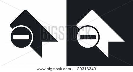 Vector bookmark icon with minus glyph. Two-tone version on black and white background