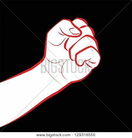 Fist fight icon. Clenched fist as a symbol for threat, defense or power. Illustration on black background.