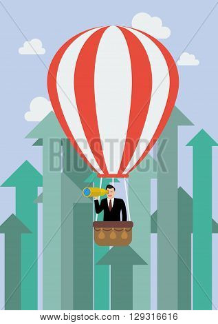 Businessman in hot air balloon against growing up arrows. Business concept