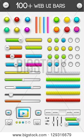 Big Collection Of Web Ui Elements. Vector Illustration